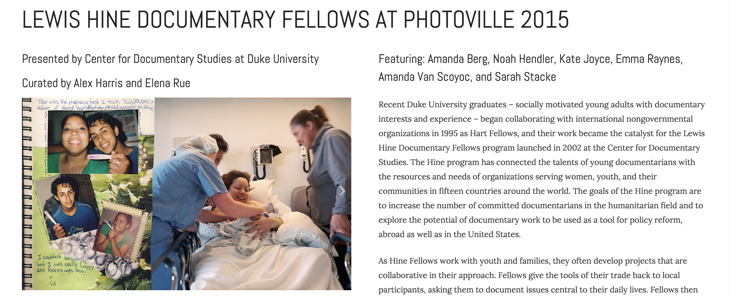 Hine Fellows Exhibit at Photoville 2015